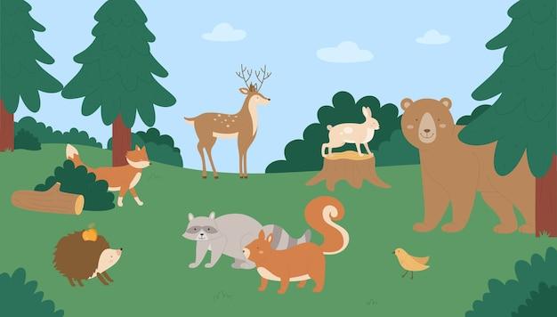 Prado verde, cena da vida selvagem com diferentes animais fofos da floresta