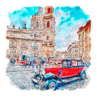 Praha república tcheca esboço em aquarela.