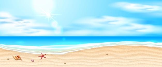 Praia à beira-mar com ondas azuis, estrelas do mar e conchas no céu com nuvens de areia na costa