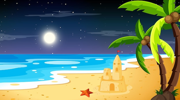 Praia à noite, paisagem com palmeiras e castelo de areia