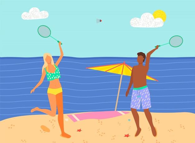 Praia badminton esporte de verão jogo, homem e mulher