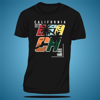 Praia califórnia tropical pôr do sol surf rider cool graphic vector t shirt print tipografia