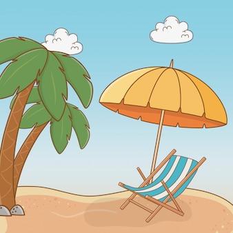Praia com cadeira viagem cena de férias