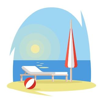 Praia, com, chaise-longue, bola, e, guarda-chuva, ligado, areia