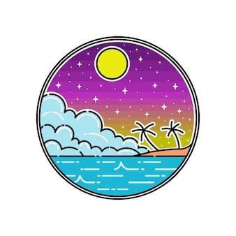 Praia com emblema cloud monoline