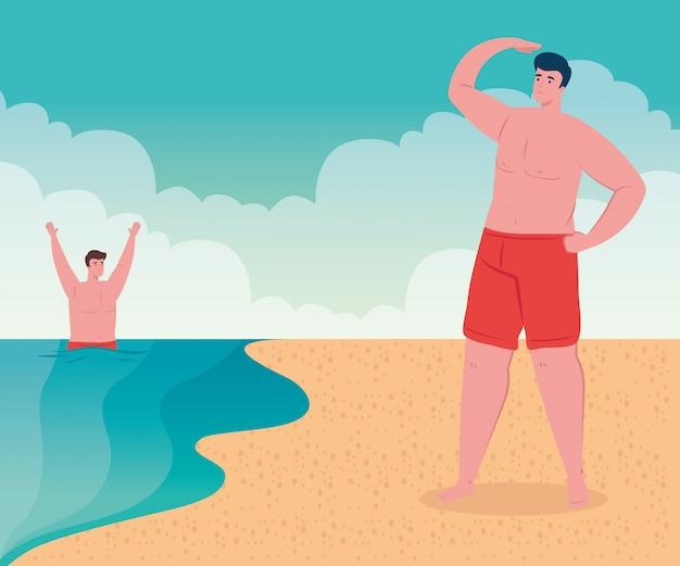 Praia com homens, homens do grupo na praia, férias de verão e conceito de turismo