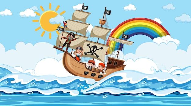 Praia com o navio pirata em cena diurna em estilo cartoon
