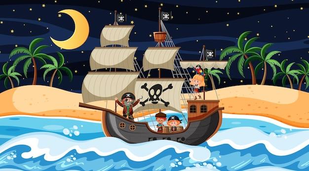 Praia com o navio pirata na cena noturna em estilo cartoon