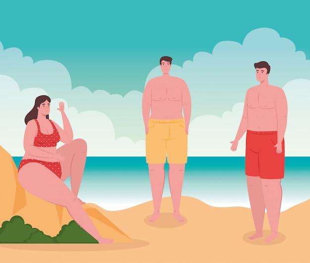 Praia com pessoas, homens e mulher na praia, férias de verão e conceito de turismo