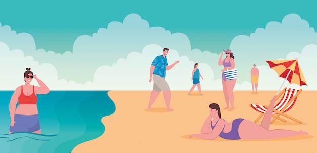Praia com pessoas, pessoas do grupo na praia, férias de verão e conceito de turismo