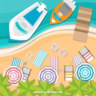 Praia com vista superior em estilo de papel