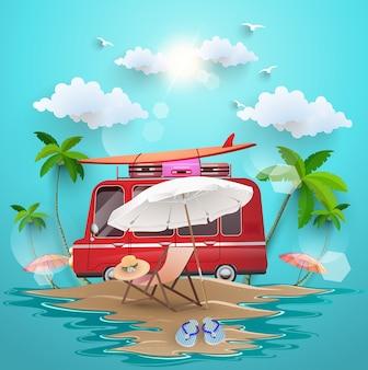 Praia da ilha com elementos de verão