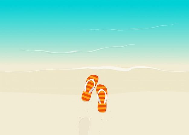 Praia de areia com ilustração em vetor flip-flops