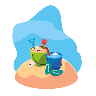 Praia de areia de verão com balde de areia e ícones