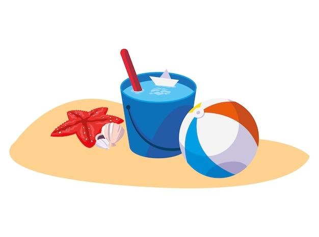 Praia de areia de verão com brinquedo de balão e ícones