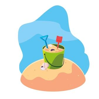 Praia de areia de verão com cena de balde de areia