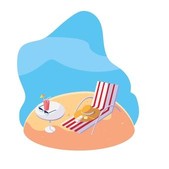 Praia de areia de verão com cena de cadeira