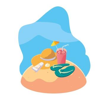 Praia de areia de verão com cena de cocktail e ícones