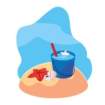 Praia de areia de verão com cena de estrelas do mar e ícones