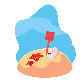 Praia de areia de verão com cena de pá e ícones