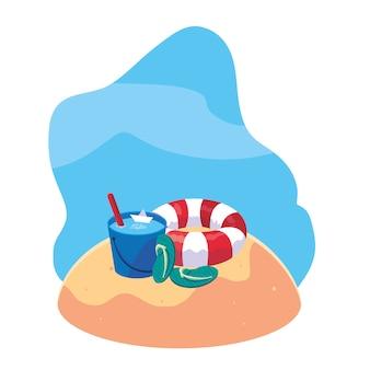 Praia de areia de verão com flutuador e ícones