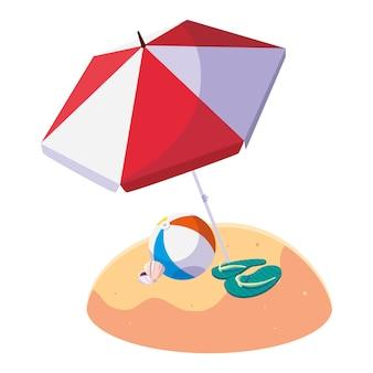 Praia de areia de verão com guarda-chuva e balão de brinquedo