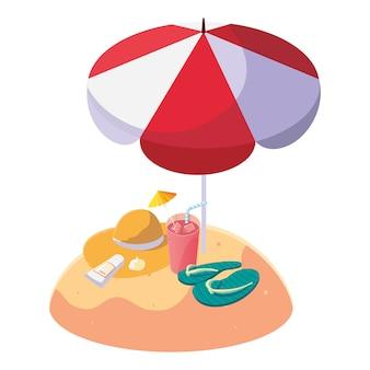 Praia de areia de verão com guarda-chuva e flip-flops