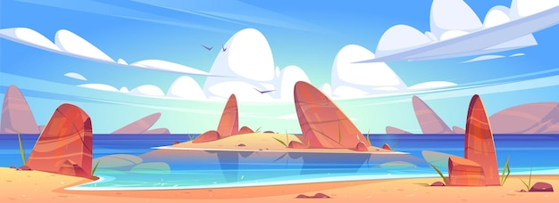 Praia de areia do mar, costa do oceano com pedras e ilha na água.