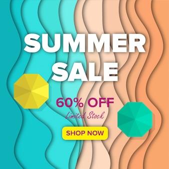 Praia de banner de venda de verão