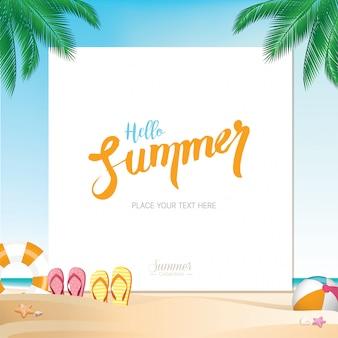 Praia de férias de verão colorido com espaço para textos