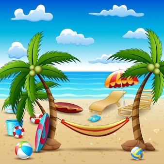Praia de férias de verão e fundo de árvores de coco