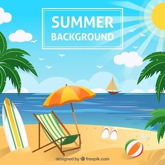 Praia de fundo com objetos de verão