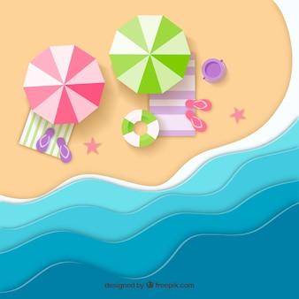 Praia de fundo superior em estilo de papel
