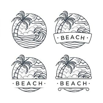 Praia de logotipo desenhado de mão