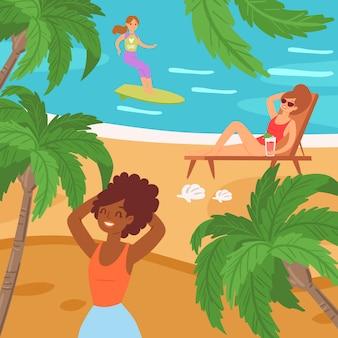 Praia de pessoas dos desenhos animados, ilustração de fim de semana. mulher surfando na onda do oceano, descansando o coquetel de frutas, deitar na espreguiçadeira, tomar sol