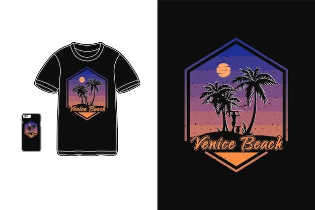 Praia de veneza, tipografia de maquete de silhueta de mercadoria de camiseta