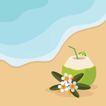 Praia de verão com coquetel