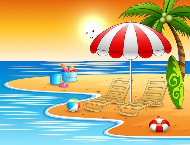Praia de verão com férias relaxa