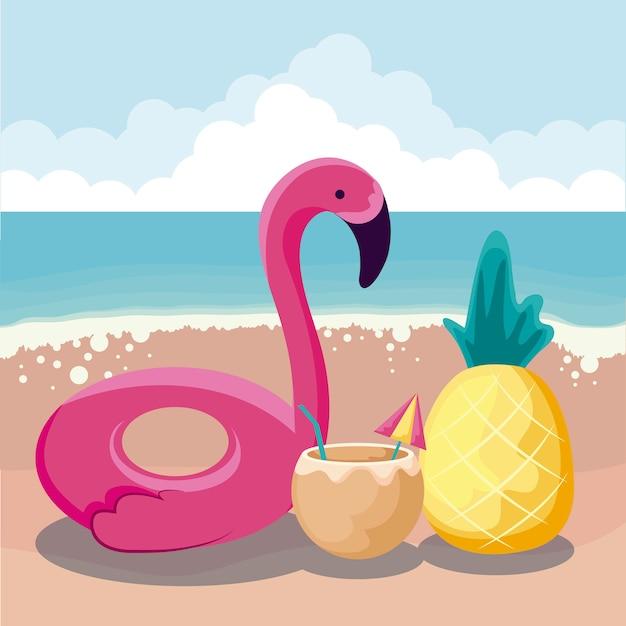 Praia de verão com float flamengo e conjunto de ícones