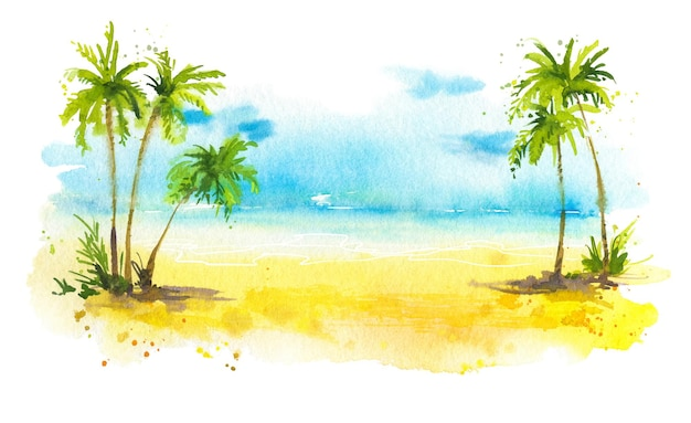 Praia de verão com fundo aquarela de palmeiras