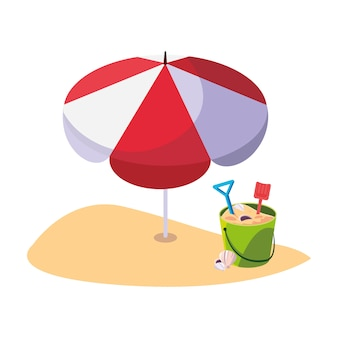 Praia de verão com guarda-chuva e areia balde brinquedos