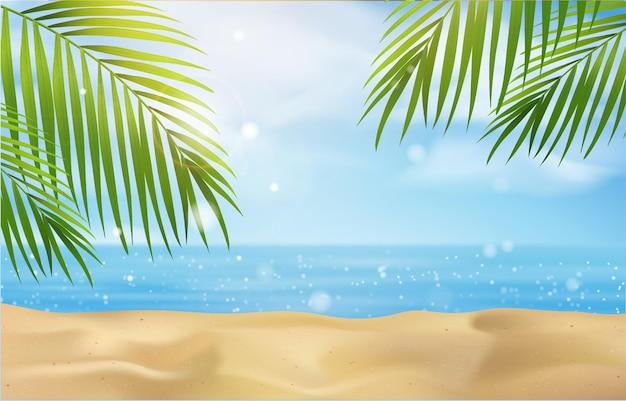 Praia de verão com mar azul