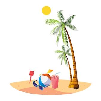 Praia de verão com palmas e cena de brinquedo de balão