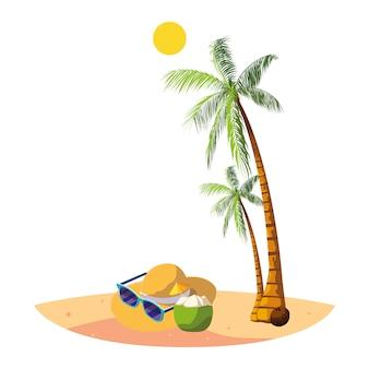 Praia de verão com palmas e cena de chapéu de palha