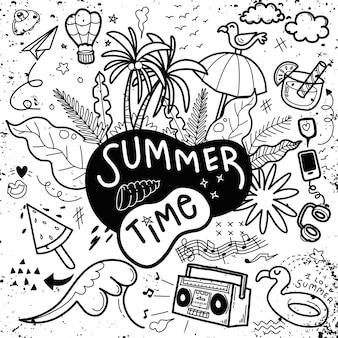 Praia de verão desenhada a mão de pessoas e objetos engraçados