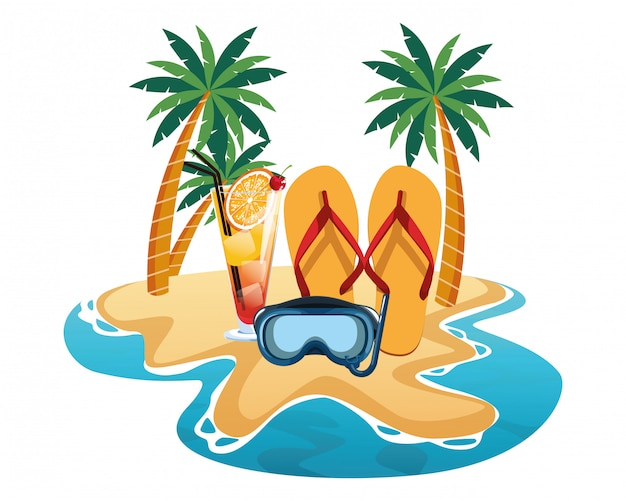 Praia de verão e desenhos animados de férias