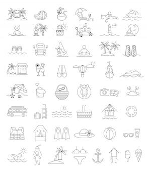 Praia de vetor e conjunto de ícones de verão