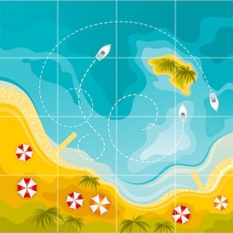 Praia de vista superior. fundo do mar de verão com areia costa, água, ilha, barcos, palmeiras. projeto da paisagem plana.