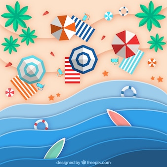 Praia do fundo superior em estilo de papel