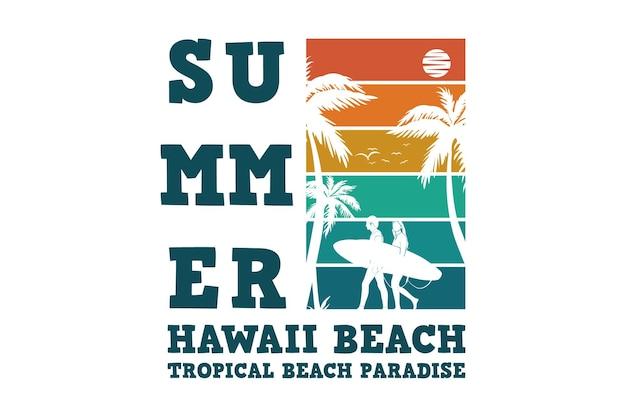 Praia do havaí no verão, design elegante em estilo retro